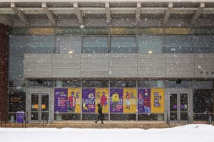 Photo showing the pandemic-related posters on campus