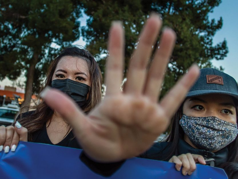 Photo of Asian women at a protest