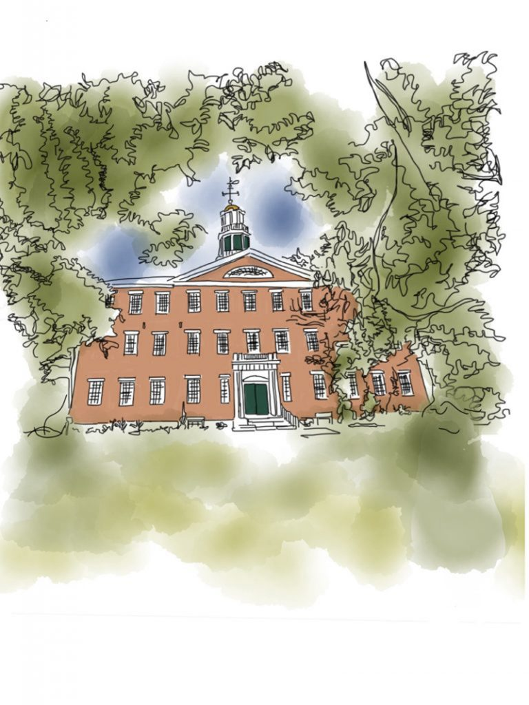 sketch of West College by Dan Cohn-Sherbok, Williams Class of 1966