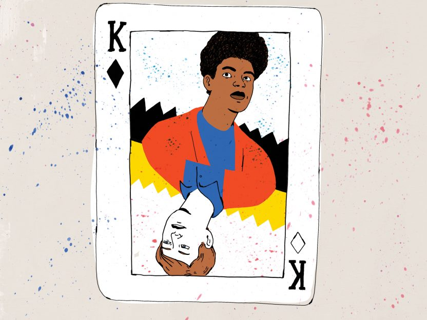 Illustration showing Black and white people on the same playing card