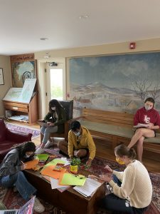 students making cards around a table