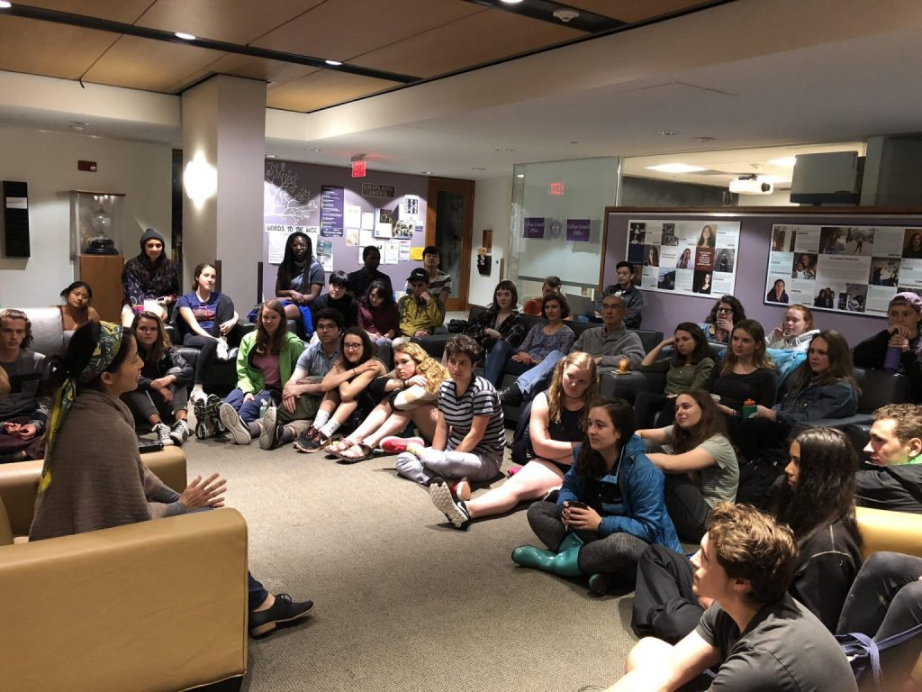members of the campus community gather for Storytime, a weekly program where Williams people share their personal stories.
